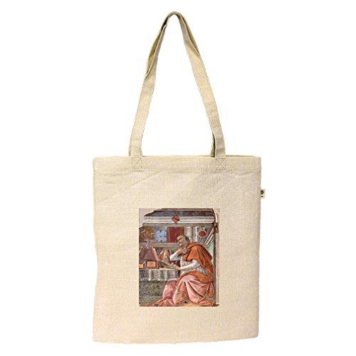 St Augustine In Prayer (Botticelli) Hemp/Cotton Flat Market Bag - In Augustine Shopping St