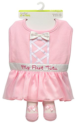 (Baby Girl My First Tutu Dress Up Bib and Ballerina Sock Set by Baby Starters - Pink - 0-9 Mths)