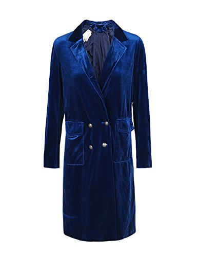 HaoDuoYi Womens Solid Velvet Double Breasted Trench Coat(XXL,Blue) by HaoDuoYi (Image #4)