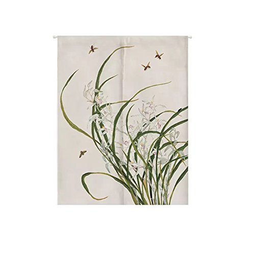 ONCEFIRST Linen Tapestry Doorway Curtain Noren Japanese Curtain for Door Bees and Flowers 35.5''X59.1'' ()