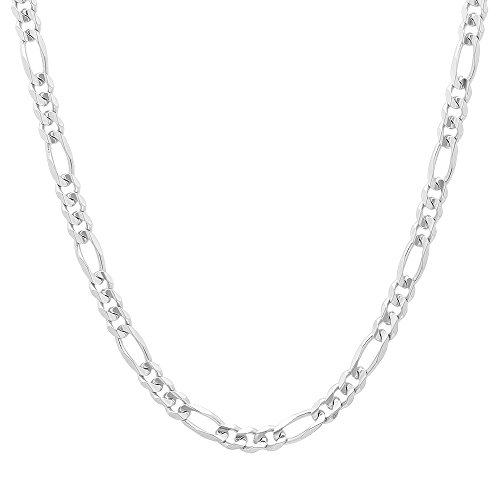 Silver Chain Mens Figaro Sterling (NYC Sterling Unisex 4MM Flat Light Solid Sterling Silver Figaro Chain Necklace, Made in Italy. (20