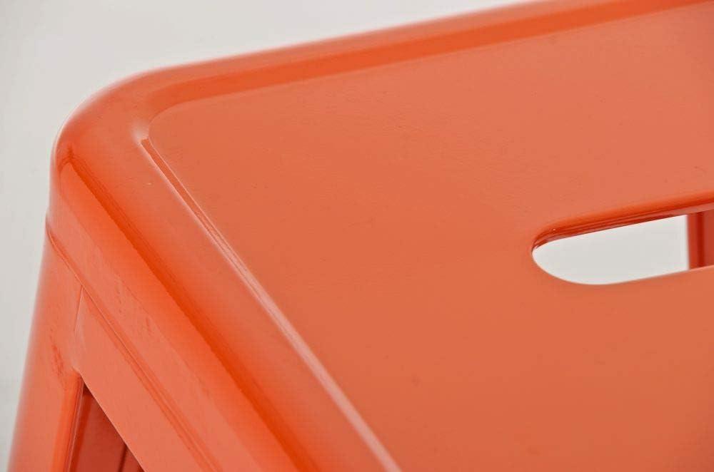 CLP Set 2 Sgabelli Bar Joshua in Metallo I Coppia Sgabelli Industriali Scandinavian Senza Schienale Impilabili I 2 Sgabelli da Bancone H 77 cm Arancione