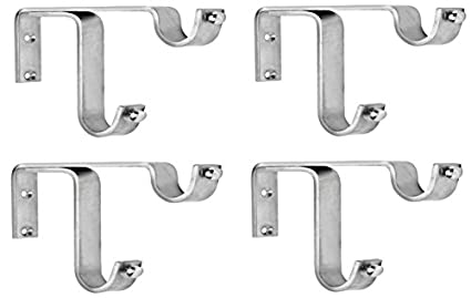 Ddrapes - 4 Strong Double SS Bracket for 2 Curtain Rod