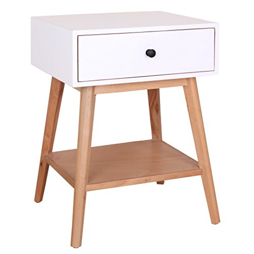 Desk Unit Eames (Porthos Home CB192A WHT Jordan End Table with Sliding Drawer, Shelf and Slim, Angled Legs, Crafted with Solid Pine Wood in Mid-Century Style, One Size, White)
