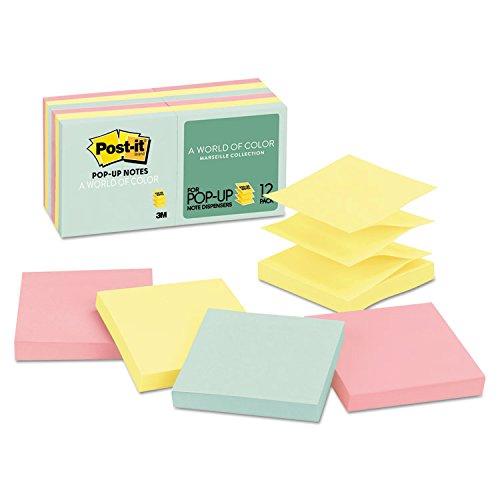 Post-it Notes, Pop Up, 3 quot;x3 quot;, 12/PK, Assorted Pastels