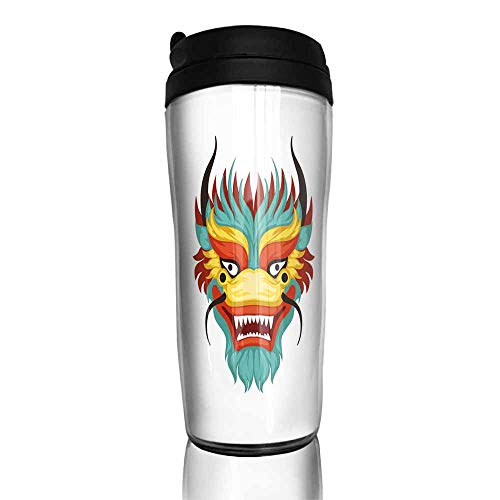 (coffee cups for mom Dragon face colorful symbol of Chinese traditional Boat Festival vector Illustration on a white background 12 oz,cup for coffee glass set)