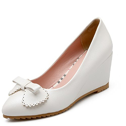 Women's Pumps High VogueZone009 Pointed PU Closed Pull Shoes on Toe White Solid Heels qvTCRdT