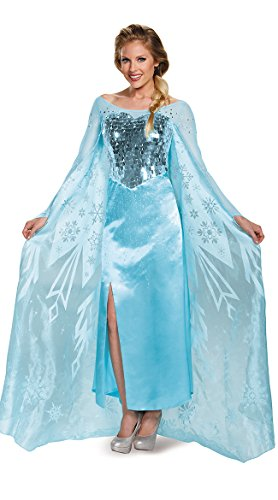 Elsa Costumes Adult Small (Disguise Women's Elsa Ultra Prestige Adult Costume, Blue, Small)