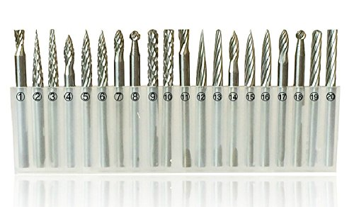 LOOYUAN 20pcs 3mm Shank Tungsten Steel Solid Carbide Rotary Files Diamond Burrs Set Fits Dremel Tool for Woodworking Drilling Carving Engraving