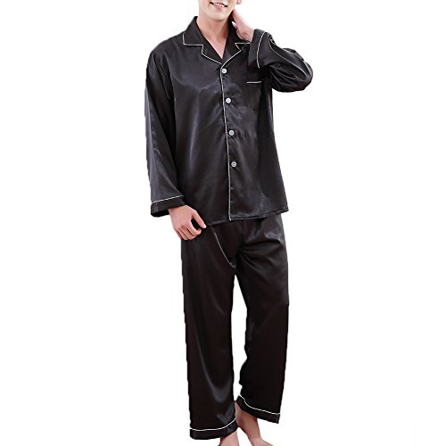 (ZUEVI Men's Classic Silk Pajamas Set Sleepwear(Black-S))