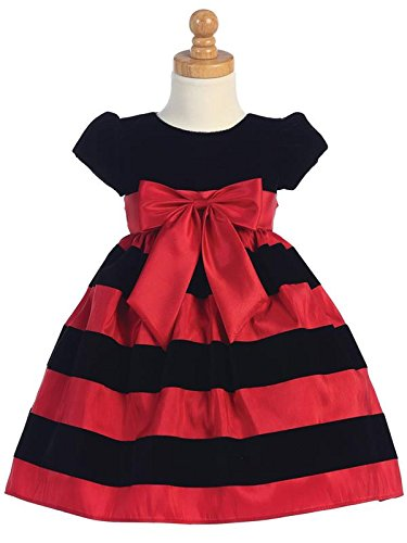 Lito Girls Holiday Dress Velvet Bodice with Bow and Striped Skirt (Red, Size 5) by Lito