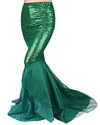 YiZYiF Women's Party Costume Sequins Mermaid Long Tail Skirt with Asymmetric Mesh Panel (Small) -