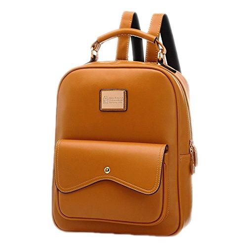 DELEY Damen Britische Style Tote Handtasche College Beutel Schulter Rucksack Braun LkjdrWijI4