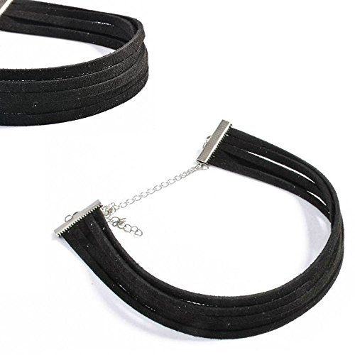 Akak Store Newest Summer Simple Fashion Black Multilayer Chenille Choker Necklace for Women Girls