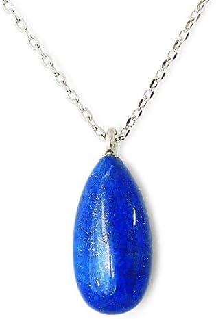 天然無着色 ラピスラズリ ドロップ ネックレス ペンダント K18GP 12月誕生石 Lapis Lazuli