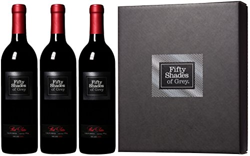 2012 Fifty Shades of Grey Red Satin Wine Gift Set with Gift Box, 3 x 750 mL