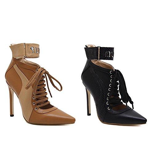 f0328604705427 LYC Damen Schuhe PU Winter Komfortable Stiefel Spitz Freizeit Brown Schwarz  Fein mit der Plattform Brown