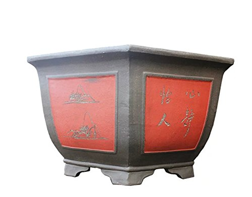 Carving-painting Red-brown Purple Clay Six-corners-flange Type Floor Flowerpot by Sungao