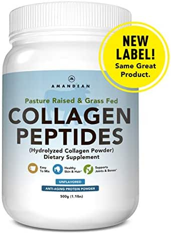 Premium Grass Fed Collagen Peptides Powder (17.6oz) | Paleo Friendly | Unflavored, Odorless, Cold Water Soluble | Hydrolyzed Gelatin Protein | Promotes Healthy Joints, Skin, Metabolism