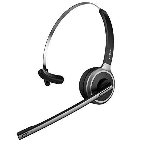 Mpow V4.1 Bluetooth Headset/ Truck Driver Headset, Wireless Over Head Earpiece with Noise Reduction Mic for Phones, Skype, Call Center, Office (Support Media Playing) (Voip Support)