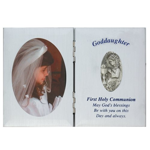 First Holy Communion Silver Tone Goddaughter Picture Frame Plaque, 5 x 7 Inch