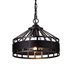YOBO Lighting Rustic Vintage Barn Metal Hanging Chandelier with Chain, Oil Rubbed Bronze