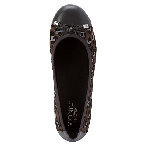 Vionic Womens 359 Minna Leather Shoes Black/Grey Leopard