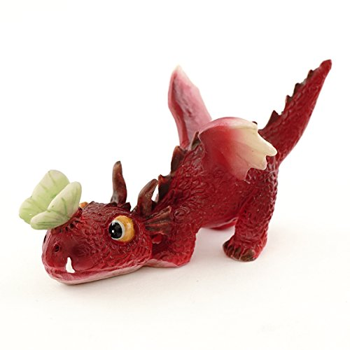 Top Collection Miniature Fairy Garden and Terrarium Mini Red Dragon Playing with Butterfly - Figurine Butterfly Fairy