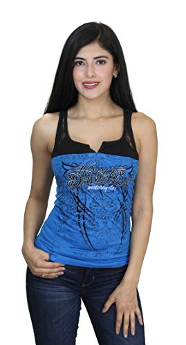 Harley-Davidson Womens Dark Ride Foil Studded Lace Yoke Blue Tank (Medium)