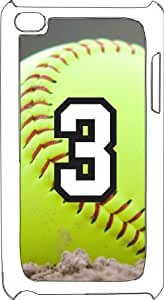 Softball Sports Fan Player Number 3 White Plastic Decorative iPod iTouch 4th Generation Case