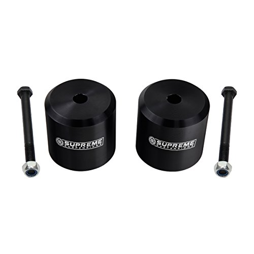 """Supreme Suspensions - Ford F250 F350 Leveling Kit 2"""" Front Lift Aircraft Billet Coil Spring Spacers (Black)"""