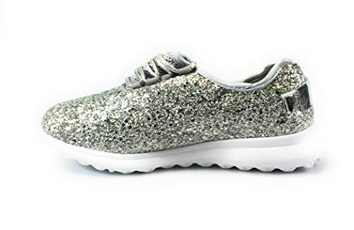 Forever Link Damen Peggy 44 Glitter Metallic gesteppte Schnürschuhe Low Top Fashion Sneaker Silber 2