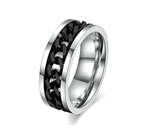 ANAZOZ Stainless Steel Black Spinner Mens Biker Personalized Rings Size 13