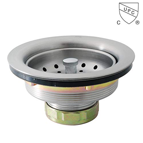 KONE 3-1/2 Inch Kitchen Sink Drain Assembly with Strainer Basket/Stopper, all Stainless Steel Durable and Rustproof ()