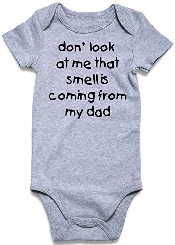 UNICOMIDEA Baby Jumpsuit Newborn Infant One-Piece Cotton Short-Sleeve Bodysuit Cool Letter of Dont Look at Me That Smell is Coming from My Dad Clothes 3-6 Months (Printing From My Kind)