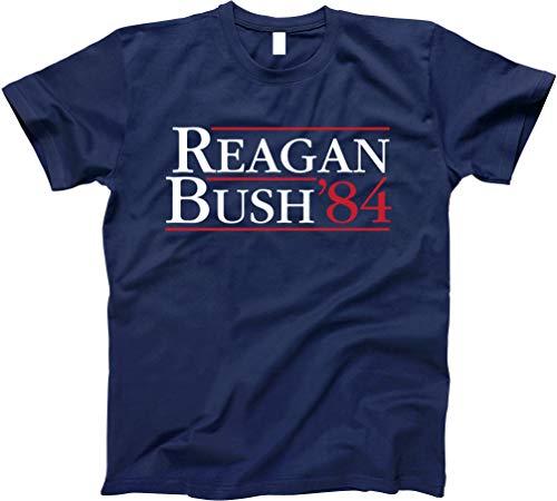 GunShowTees Men's Reagan Bush 84 Vintage Republican GOP Campaign Shirt, Medium, ()