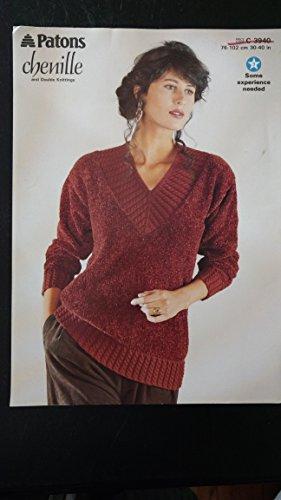 (Patons chenille sweater knitting pattern C 3940)