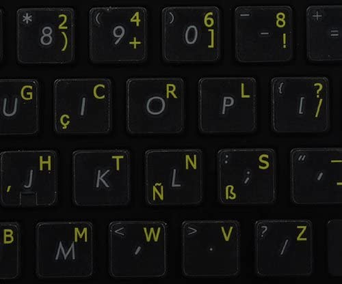 Dvorak Programmer Keyboard Labels ON Transparent Background with Yellow Lettering 14X14