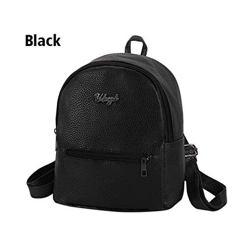 Rucksacks Packet Leather Black Girls Female Backpacks PU Bags Women Soft Small Shopping Casual Ladies 5w0xyqpfX