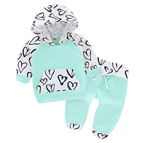 Toddler Baby Girls Clothes 2Pcs Flower Ruffle T-Shirt+ Ripped Jeans Denim Pants Outfits Sets Green(6-12 Months)
