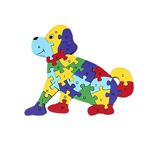 HIPGCC Wooden Blocks Jigsaw Puzzles Winding Dog Toys Letter & Numbers Puzzles Preschool Educational Toys for Toddlers Kids Children Boys Girls, Toys for Age 3 4 5 Year Old and Up