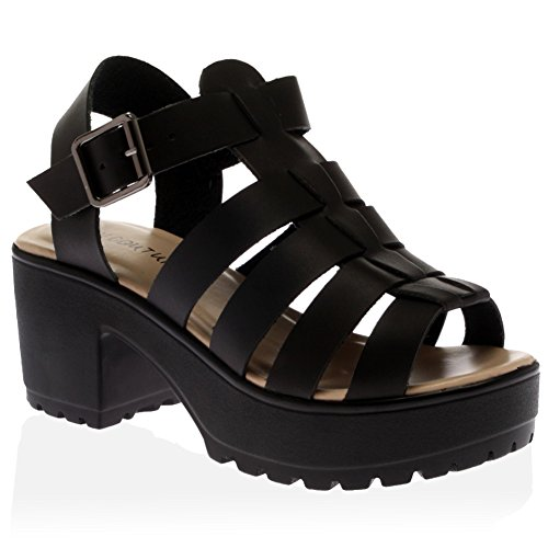 My1stwish Women's Platform Heel Gladiator Sandals Size 8 Black