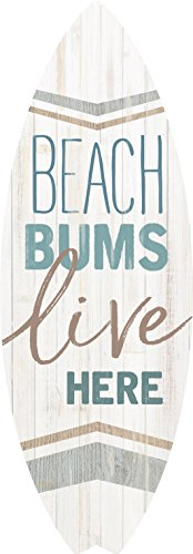 P. GRAHAM DUNN Beach Bums Live Here Surfboard Shaped 4 x 12 Wood Wall Plaque Sign
