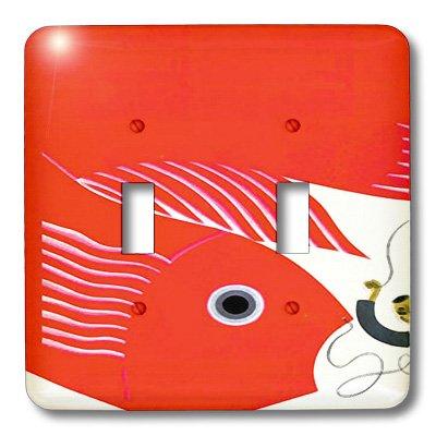 3dRose lsp_109940_2 pintura Digital arte asiático Deco peces doble interruptor de palanca