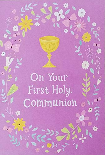 On Your First Holy Communion Greeting Card - Asking God To Bless You in a Special Way As You Remember The Love of Christ (Purple Flowers and - First Communion Card