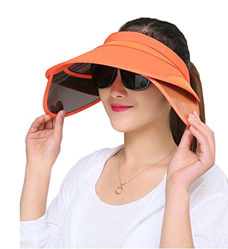 Obosoyo Women's Beach Sun Visor Solid Wide Brim Summer Sun Hat with Retractable Visor Orange One Size