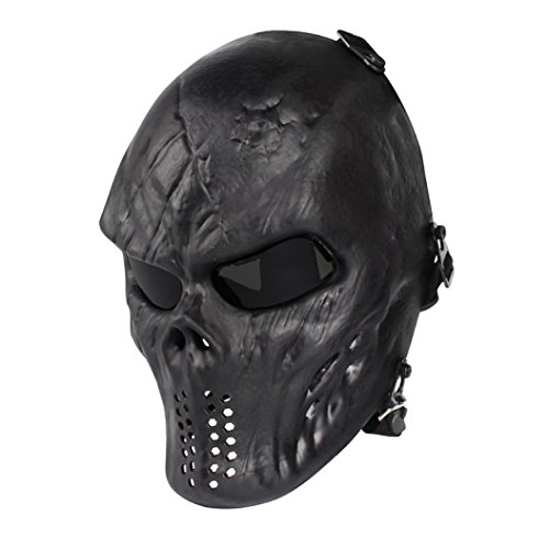Skull Skeleton Full Face Airsoft Mask with PC Gray Lenses Army Fans Supplies M06 Tactical Mask for Halloween BB Paintball Gun CS Game Cosplay and Masquerade Party ()