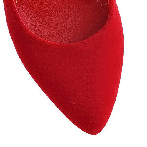VogueZone009 Women's Pull-on Imitated?Suede Pointed Closed Toe High-Heels Solid Pumps-Shoes Red Y0L9O9