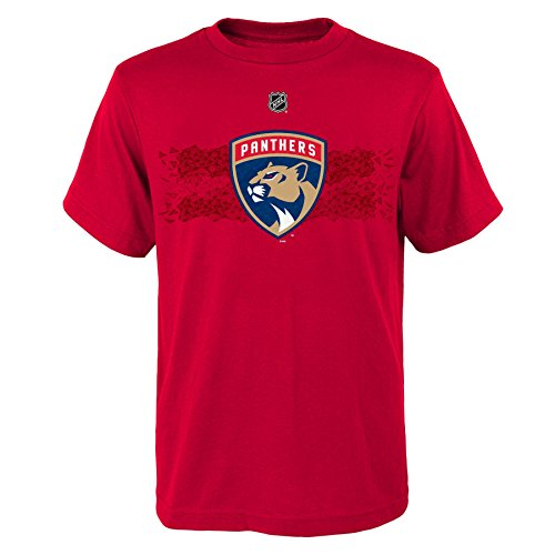 NHL Florida Panthers Luongo R Boys Fractal Camo Player Short Sleeve Tee, Medium/(10-12), Red