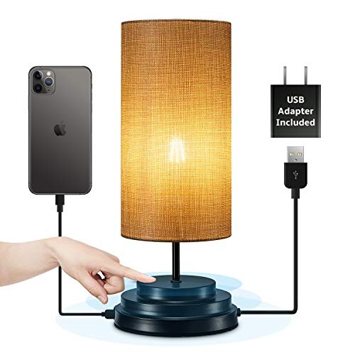 Keymit Touch Bedside Lamp - Fully Dimmable Lamp - Low Voltage(DC 5V) Portable Table Lamps for Bedrooms - Nightstand Lamp Minimalist Black 5.5D 15H - 1 USB Charging Port for Living Room